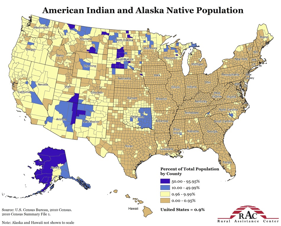 map american indian population percentages in united states